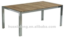 2014 Hot sale wood furniture stainless steel frame with teak dining table