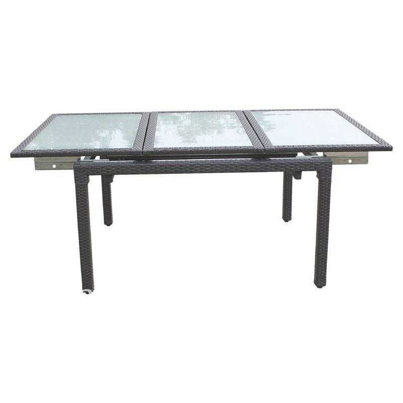 alluminio rattan tavolo allungabile in vetro temperato-Tavolo pieghevole-Id p...