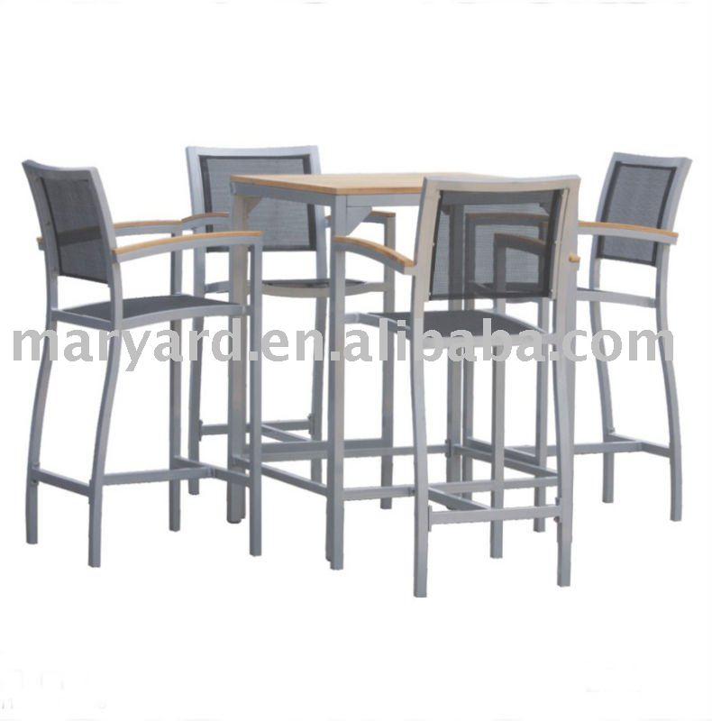 Gardem bar meubles de table en teck avec sling bar chaises meuble de outils de jardin id du Table haute jardin design