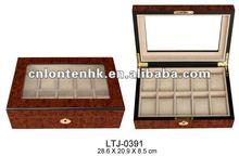 10pcs glass top man's wooden watch box