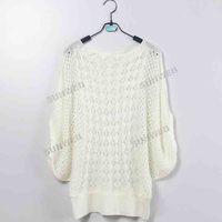 Женская свитер Свободные Тонкий Batwing рукавом вязать свитер Блузка.