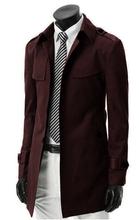Free shipping fashion stylish men trench coat / long single-breasted coat / jacket black Overcoat Outerwear Long jacket(China (Mainland))