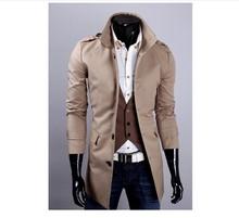 Free shipping fashion stylish men trench coat / long singl