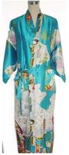 Navy blue Fashion Chinese Women's Silk Polyester Painted Kaftan Peri Kimono Bath Robe Gown Bathrobe With Belt M L XL XXL XN-6(China (Mainland))