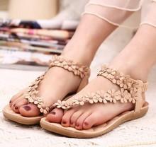 Big Size  Bohemia 2015 Sandals Female Beaded Flower FLat Flip-flop flats Women's Shoes Free shipping(China (Mainland))