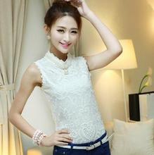 New 2014 Summer Fashion Women Clothing Organza Sleeveless Base Shirt Women Work Wear Blouse Lace Shirt Tops Plus Size(China (Mainland))