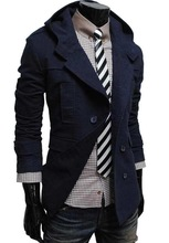 Free shipping 2013 new winter jacket, fashionable cotton double breasted hooded men's casual coat(China (Mainland))
