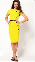 Classic Elegant Women Short Sleeve Empire Waist Button Casual Slim Stretchy Knee-Length Pencil Summer Dress 2014 Plus Size(China (Mainland))
