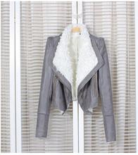 Free shipping  women Leather jacket 2014 winter  slim leather coat PU motorcycle jacket ladies leather jacket coat 40(China (Mainland))