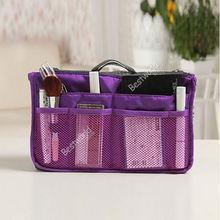 Hot Women Organizer Organiser Travel Bag Purse Handbag Insert Liner Large Tidy Bag (bx84) 10 Color(China (Mainland))