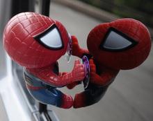 16CM Spider ManToy Climbing Spiderman Window Sucker Spider-Man Doll Car Home Interior Decoration 4 color 2X HM141-4(China (Mainland))