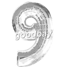 """Free Shipping Large Size 40"""" Silver Foil Mumber Balloons for Party Decoration(China (Mainland))"""
