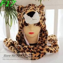 120pcs/lot 2014 Fashion style! Free Shipping Cartoon Animal Long Style Cute leopard Plush Winter Warm Party Cute Cap Hat(China (Mainland))