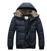 Free Shipping 2014 New Fashion Mens Thick Warm Down Hooded Jacket Mens Winter Outwear Coat With Fur Collar,Plus Size:M-XXXL(China (Mainland))
