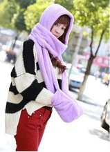 new Thick warm winter for kids  lovely lady Double thick wool scarf hat gloves together lenco scarf set christmas children's(China (Mainland))