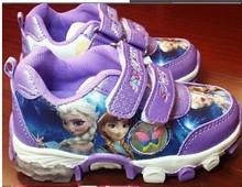 Free shipping 2014 New Kids Frozen Sneaker Shoes for Girls Children Sports Casual Shoes Fashion Frozen elsa anna Waterproof(China (Mainland))