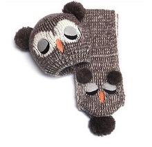 Wholesale  Pretty Winter Kids' Knitted Cap  New Owl Design Children's Hat Scarf Two Pieces 5 Colors(China (Mainland))