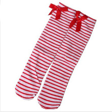 Free Shipping One Pair New Fashion Lovely Kids Girls Princess Bowknot Knee High Long Socks(China (Mainland))