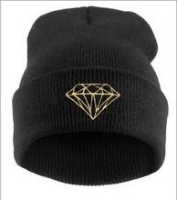 Fashion Hot Cap Warm Winter Men Women Cuffs Hat Diamond Hip-Hop Hat Beanies Knitted Wool Hat Skull Hats Free Shipping M0281(China (Mainland))