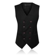 Men's Clothing Fashion Male British Style Slim Colete Masculino Cotton Double Breasted Sleeveless Jacket Waistcoat Men Suit Vest()