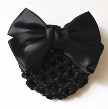 New Arrival Solid Color Satin Bow Barrette Lady Hair Clip Cover Bowknot Bun Snood Women Hair Accessories(China (Mainland))