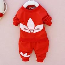 retail 2014 New cotton Toddlers children baby boys girls autumn spring 2 pcs clothing set suit Pattern baby shirt + pants sets(China (Mainland))