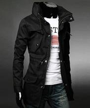 winter new Korean fashion long turtleneck slim fit men trench coat black green khaki chaquetas hombre male clothes YC980(China (Mainland))