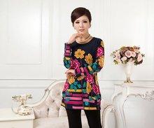 XL,XXL,3XL,4XL,5XL 2015 New Big Plus Size Winter Women Sweater Pullovers Print Casual Sweater woman tunic poncho vestidos ZJ3035(China (Mainland))