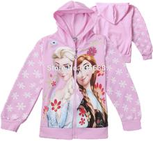Hot Cartoon Elsa Princess Snowflak Kids Girls Hoodie Coat Clothes jacket Free Shipping(China (Mainland))