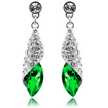 100% Sterling Silver Jewelry Female Green / Champagne Conch Blue Earrings Sterling Silver Earrings Top Quality!!(China (Mainland))