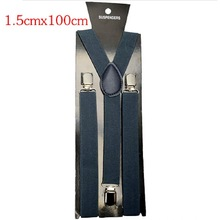 1.5*100cm Men Womens Clip-on Suspenders Elastic Y-Shape Adjustable Braces Solids 18 Colors Free Shipping(China (Mainland))