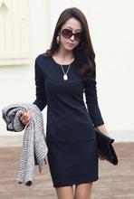2015 hot new Womens Lady autumn Long Sleeve Slim Fit Casual dress cotton winter Mini Dress plus size S-3XL a394 (China (Mainland))
