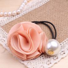 [6903] Free shipping Korea hair ring for women girl fashion flower rose Pearl hair tie head ornaments hair band hair accessory(China (Mainland))