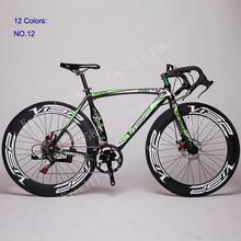2015 New 700C X 70mm Road Bike 14 Speeds 52cm Aluminium Alloy Frame 12 Colors Road Bicycle Double Disc Brake Bicicleta Road Bike(China (Mainland))