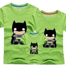 2015 Family Shirts Set Summer Fashion Knitted Short Sleeve Batman Character Print Father Boy Mother Girl Matching Clothing Sets(China (Mainland))