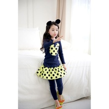 2015 Spring and autumn New Children Girl's 2PC Sets Skirt Suit Minnie Mouse baby sets dots skirt dots pants kids(China (Mainland))