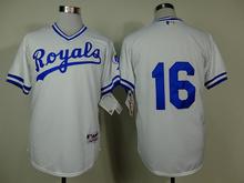 New Free shipping Mens Kansas City Royals #16 Bo Jackson White Light Blue Throwback Baseball Jerseys Embroidered Logo size 48-56(China (Mainland))