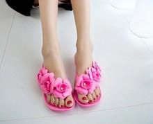 2015 New Summer Hot Women Sandals With Beautiful Camellia Flower Sweet  Flip Flops XWZ455(China (Mainland))