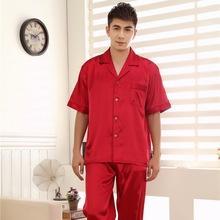 L,XL,XXL,XXXL Summer Male Satin Pajamas Set Fashion Collar Printed Short Sleeves Silk Nightwear Pajamas Red,Champagne Burgundy(China (Mainland))