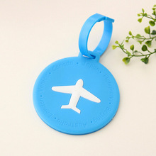Free Shipping Candy Colored Round Aircraft  Silicone Travel Luggage Tag Baggage Tags for Bag Suitcase(China (Mainland))