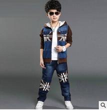 Retail New Fashion 2015 Children Tracksuit Boy Hoodies + Kids Pants Sport Suit Boys Clothing Set(China (Mainland))