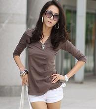 Women Shirts Blouses Spring 2015 New Fashion Woman Long Sleeve V-Neck Body Blouse White Casual Clothing Tops Blusas Femininas(China (Mainland))