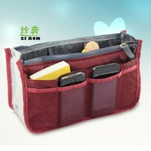 Hot Sale Bag in Bag Organizer Bags Portable Travel Bags Double Zips Handbag Free Shipping(China (Mainland))