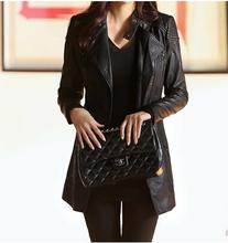 Hot! European new 2015 Spring autumn winter women fashion medium-long slim pu jacket Stand collar Washing leather dust coat G131(China (Mainland))