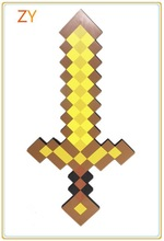1Pc 2014 Newest Design Game Toy Diamond Sword Minecraft Foam Mosaic Sword/Pickaxe/Hamaxe For Baby/Girl/Boy Free Drop Shipping(China (Mainland))