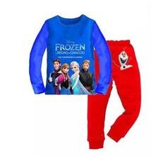 New 2014 frozen baby girls clothing sets children kids summer pajamas child Anna Elsa princess clothes for 2-7T   ATZ074(China (Mainland))