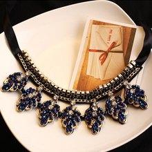 4 styles Fashion  Elegant charm  retro flower Leaves  rose gem cross Geometry rhinestone necklace Statement jewelry 2014 LF54(China (Mainland))