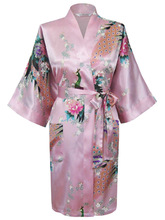Free Shipping Lady's Peacock Kimono Bath Robe Night Robe Gown Yukata Full Size(China (Mainland))