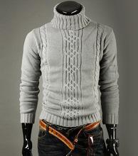 Free Shipping! 2014 New Arrival Korean Version Warm Sweater Men Slim Turtleneck Heaps Collar Knit Pullover Black Grey M-5XL(China (Mainland))
