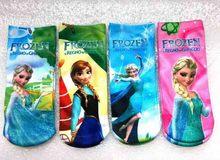 Frozen Girls Kids Socks 4-10 age Summer Babys Cotton Socks Cartoon Child Normal Sneaker Socks 12 pieces=6 Pairs=1 Lot Kids C123(China (Mainland))